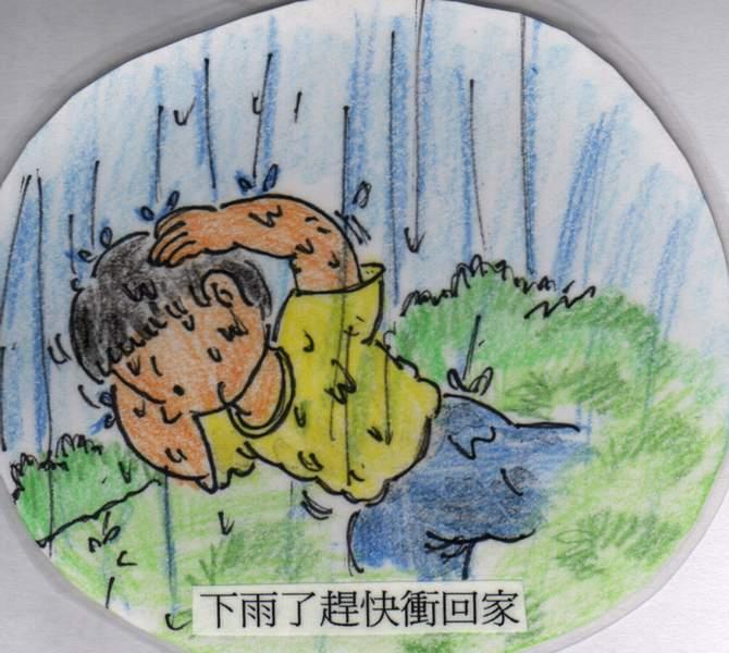 下雨小孩打伞简笔画